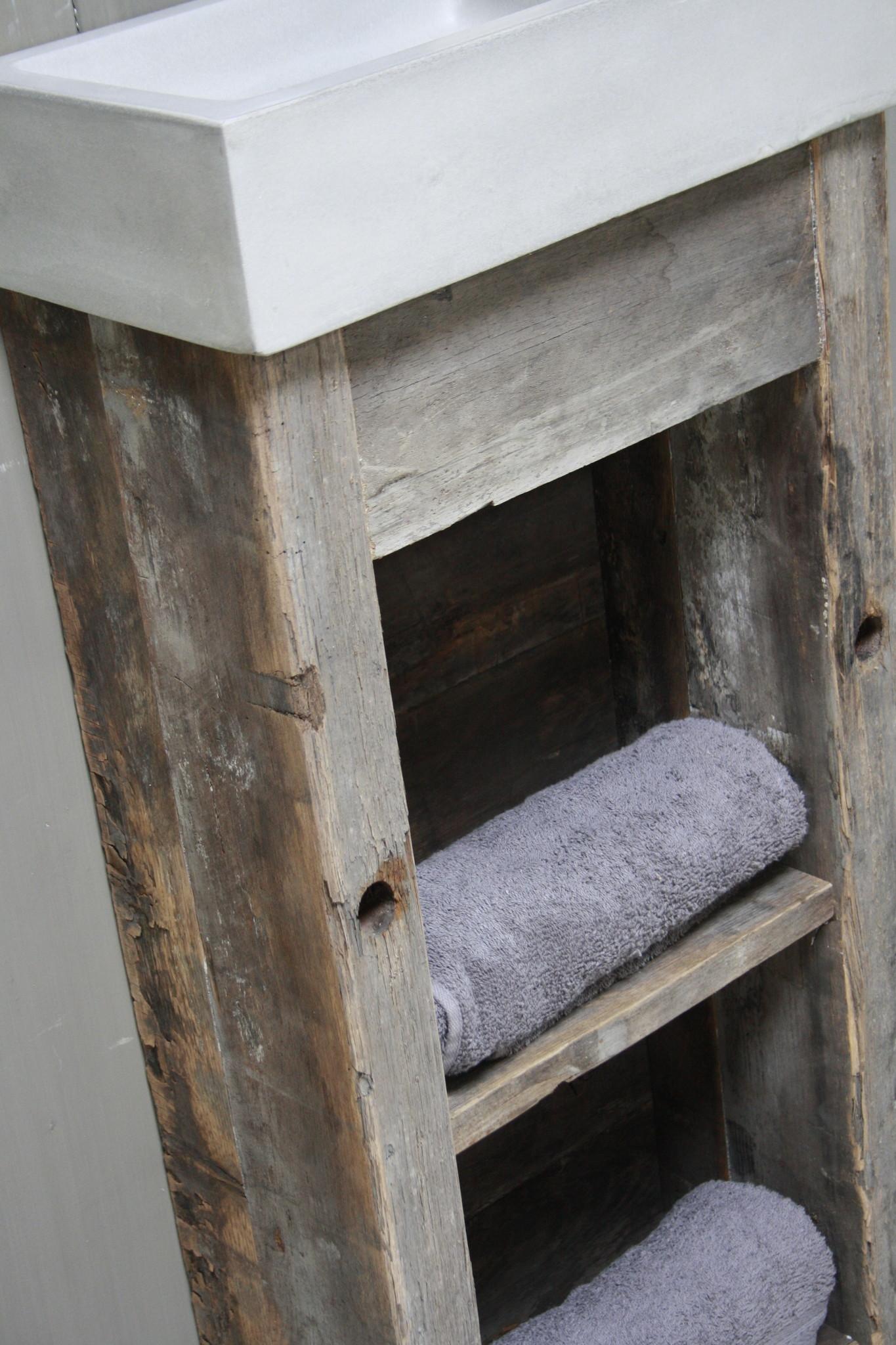 Toiletmeubel oud hout met betonbak  90 cm light grey-4
