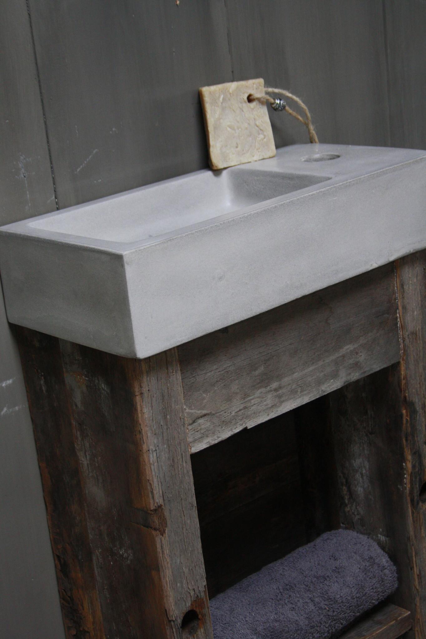 Toiletmeubel oud hout met betonbak  90 cm light grey-5