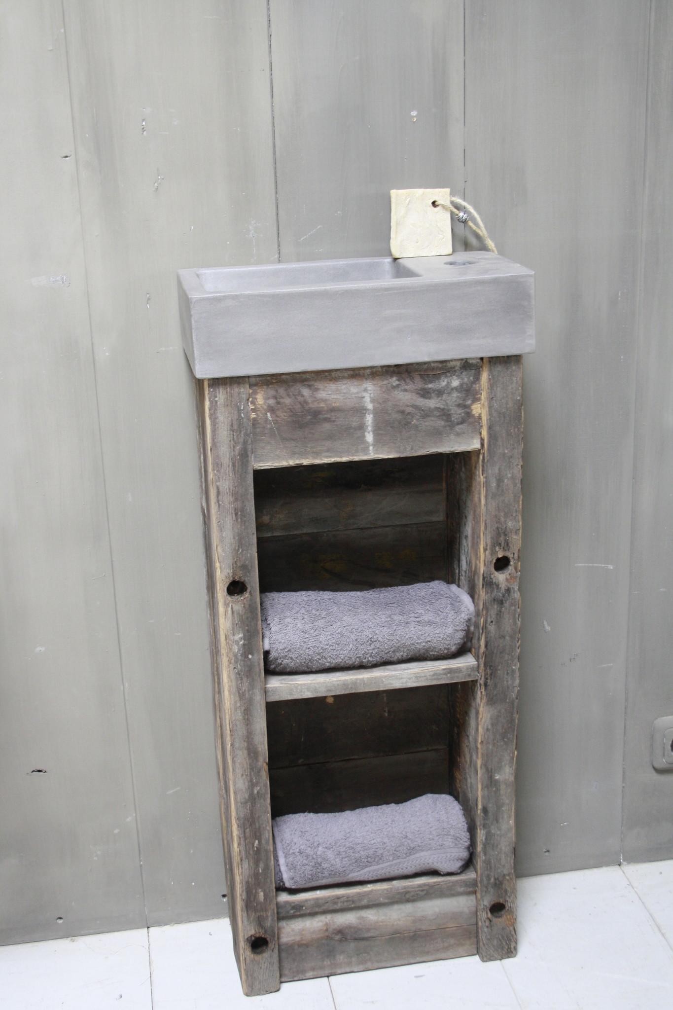Toiletmeubel oud hout met betonbak 90 cm dark grey-2