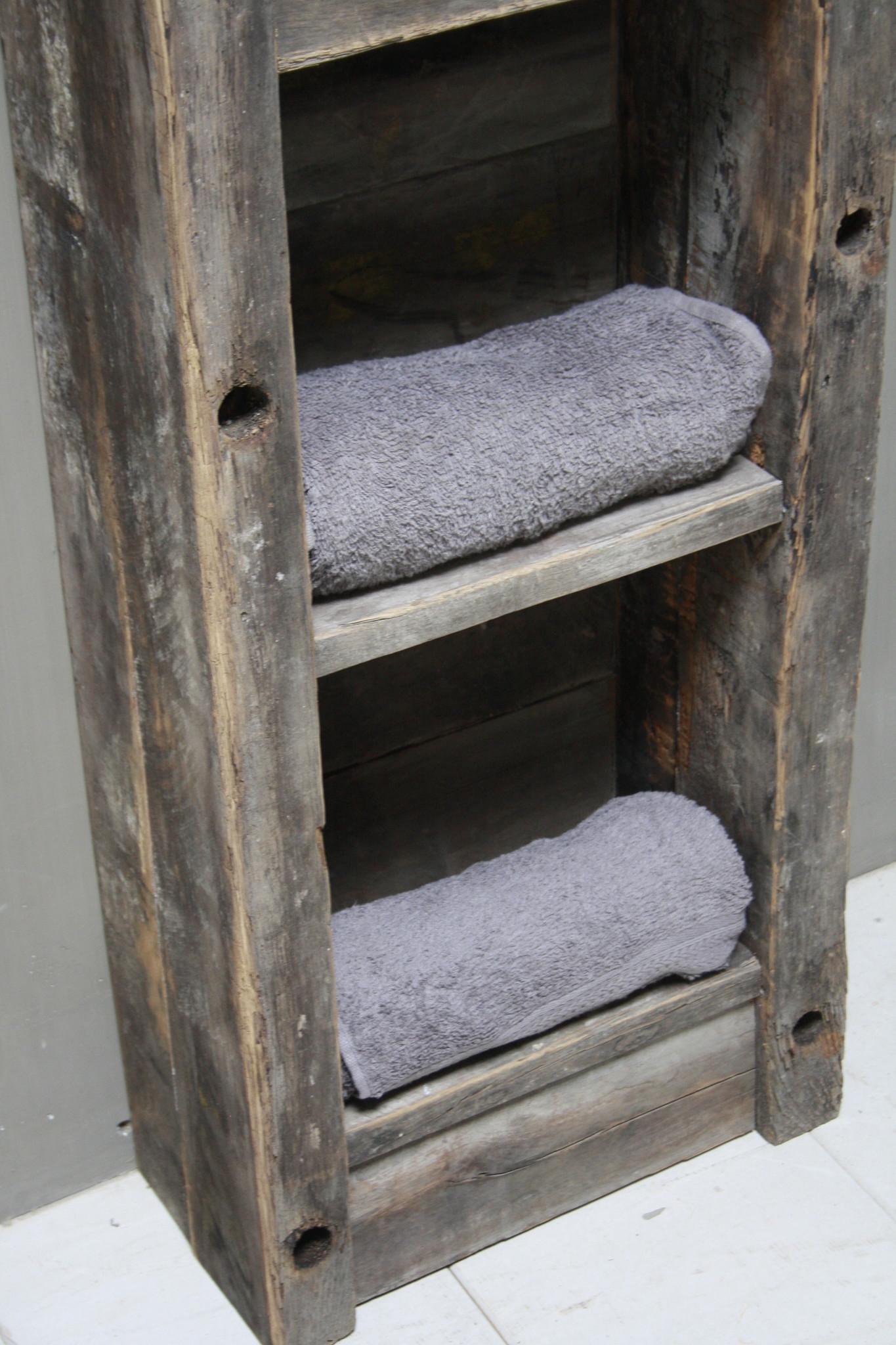 Toiletmeubel oud hout met betonbak 90 cm dark grey-4