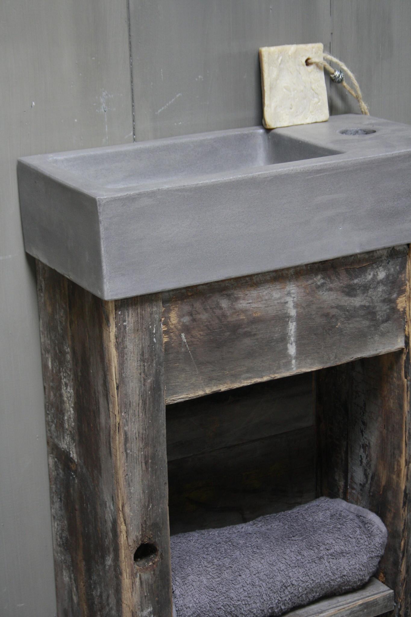 Toiletmeubel oud hout met betonbak 90 cm dark grey-5