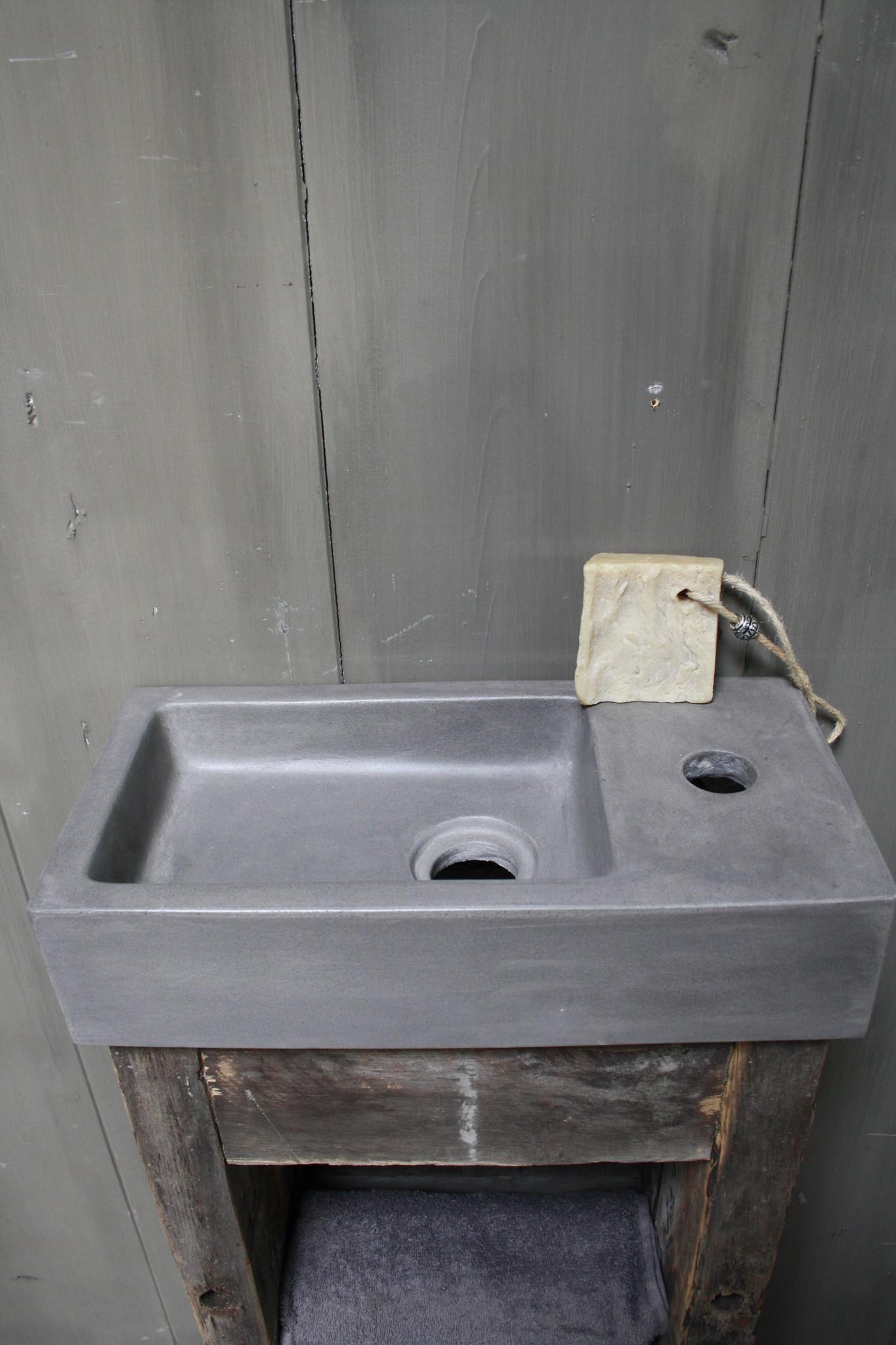 Toiletmeubel oud hout met betonbak 90 cm dark grey-6