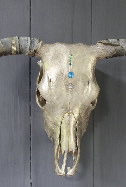Longhorn Schedel Goud Met Hoorns 63 x 44 cm - Copy
