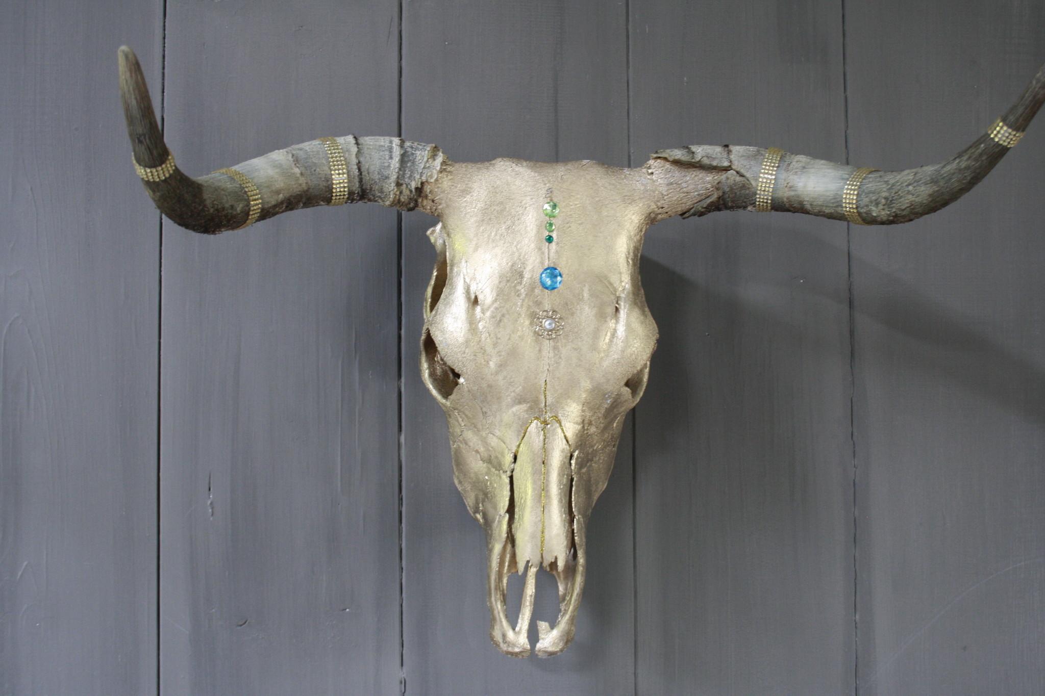 Longhorn Schedel Goud Met Hoorns 63 x 44 cm - Copy-1