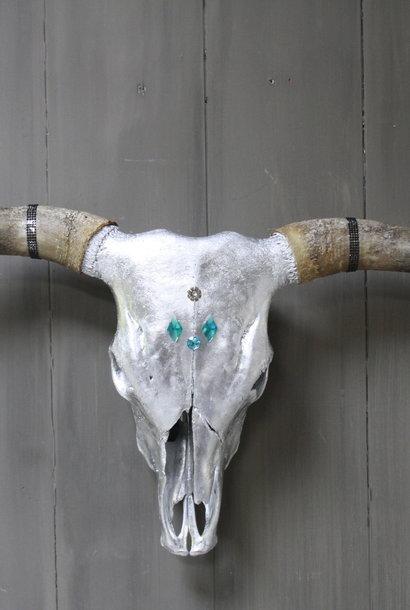 Longhorn Schedel Zilver Met Hoorns 100 x 43 cm - Copy