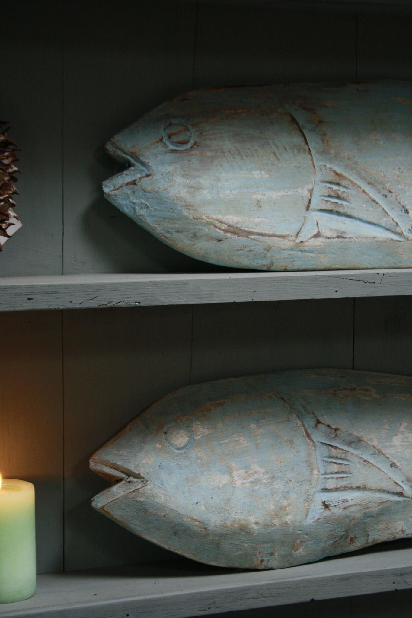 Houten decoratie vis blauw/groen verweerd 71 cm-2