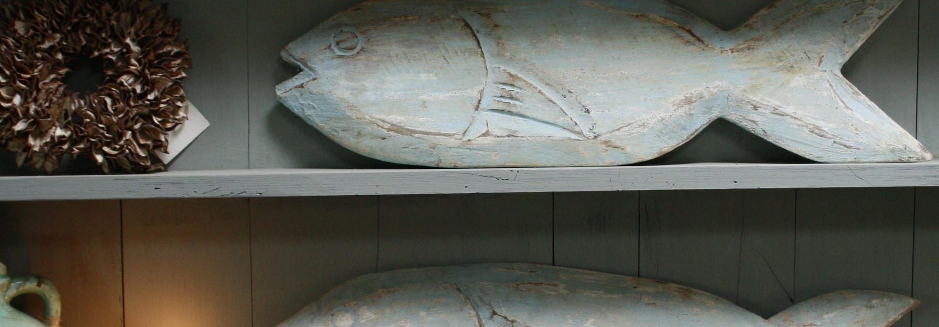Houten decoratie vis blauw/groen verweerd 71 cm