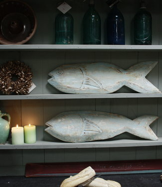 Set houten decoratie vissen blauw/groen verweerd