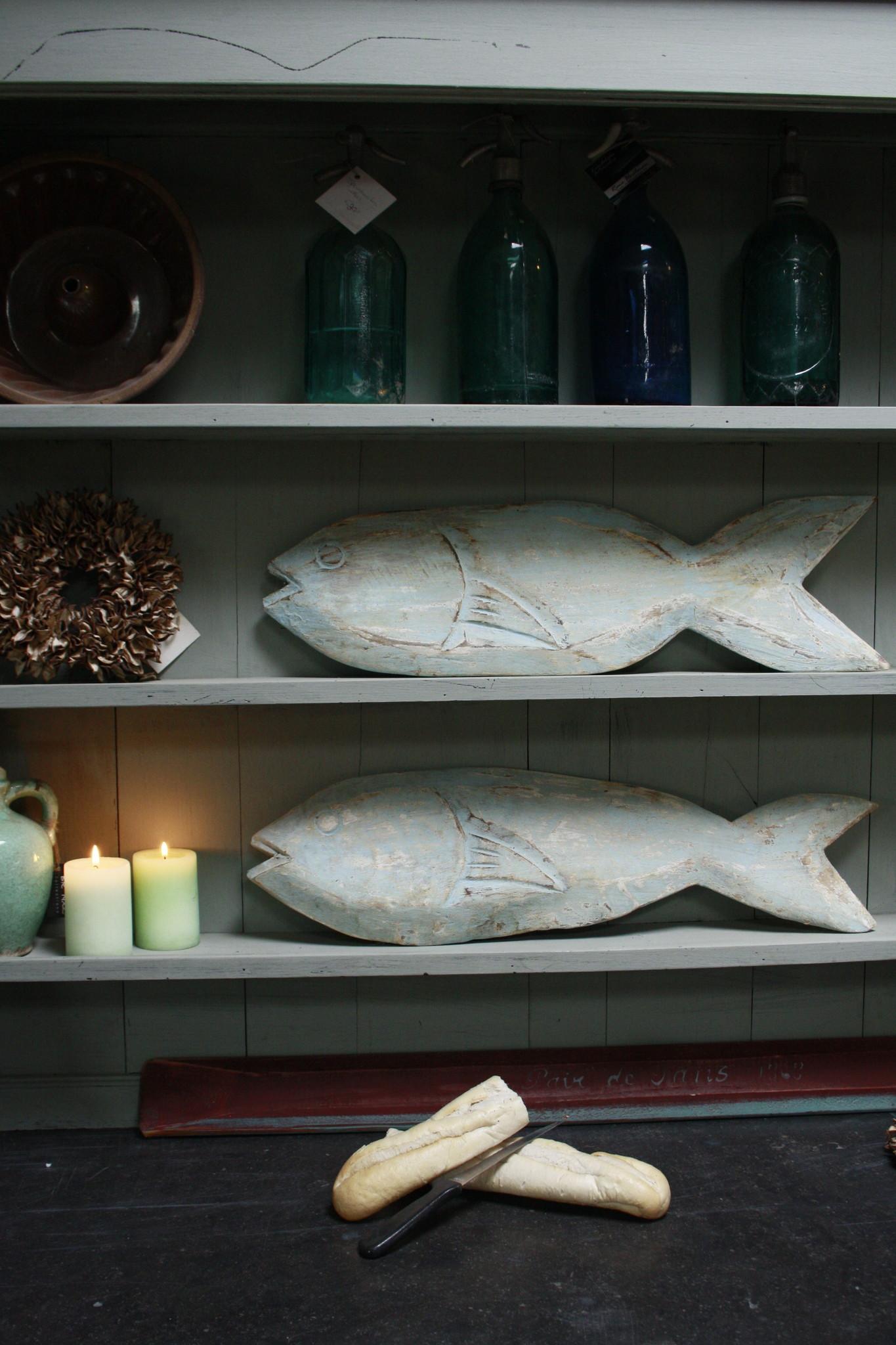 Houten decoratie vis blauw/groen verweerd 71 cm-1