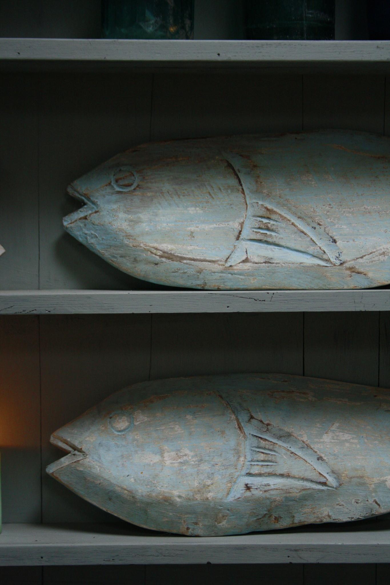 Houten decoratie vis blauw/groen verweerd 71 cm-3