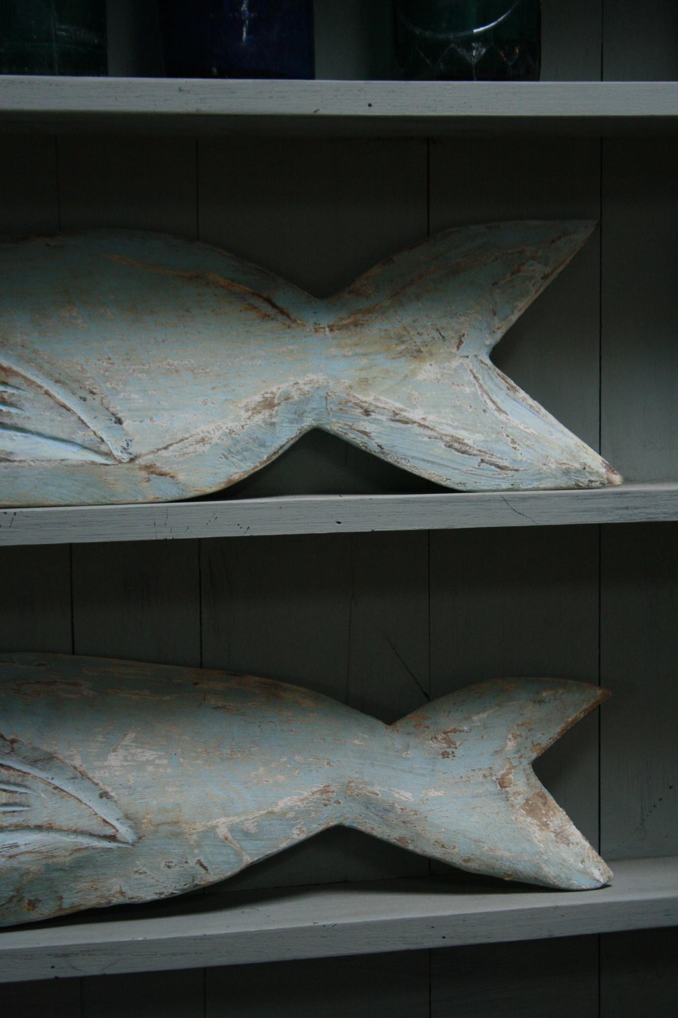 Houten decoratie vis blauw/groen verweerd 71 cm-4