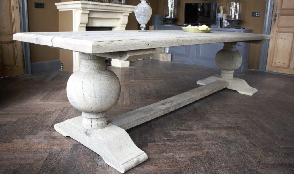 Eettafel oud eikenhout met bolpoot Tense 280 x 90 cm-3