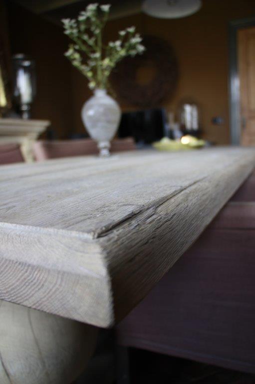 Eettafel oud eikenhout met bolpoot Tense 280 x 90 cm-6