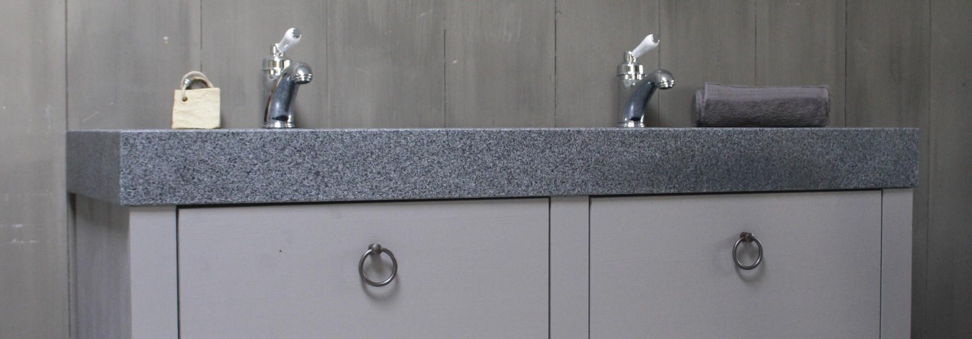 Landelijk badkamermeubel grijs 140 cm met 4 lades en dubbele spoelbak