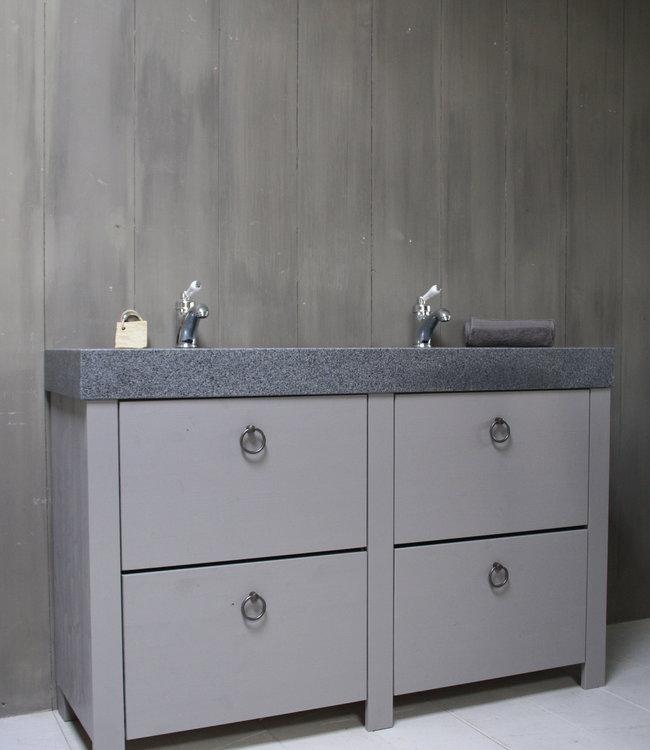 Landelijk badkamermeubel grijs 140 cm met 4 lades