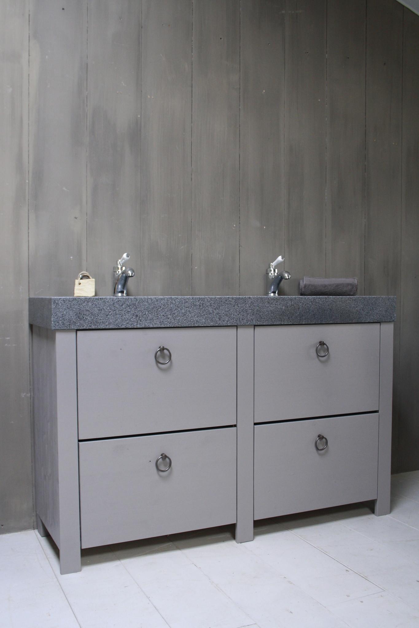 Landelijk badkamermeubel grijs 140 cm met 4 lades en dubbele spoelbak-1