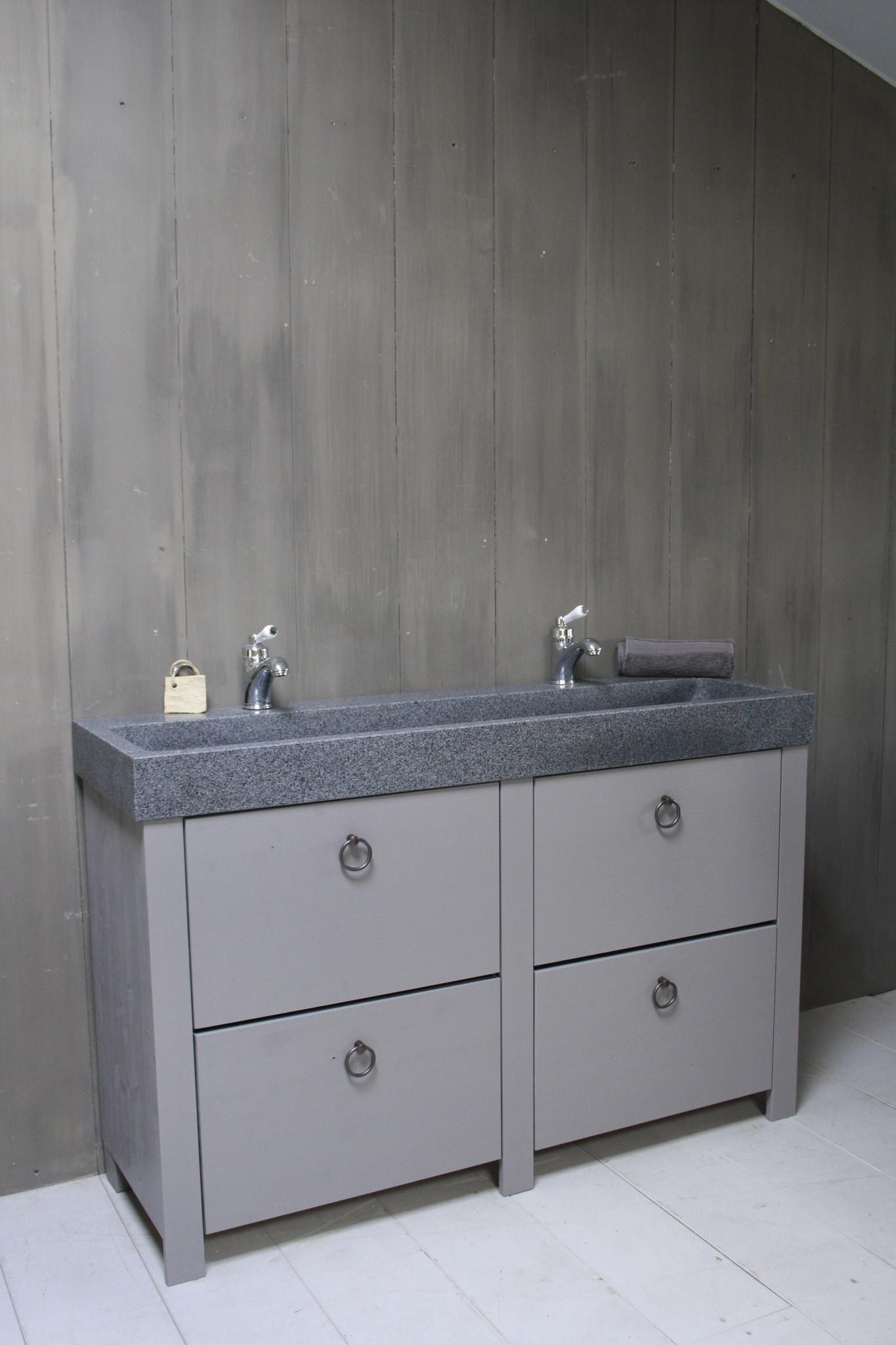 Landelijk badkamermeubel grijs 140 cm met 4 lades en dubbele spoelbak-4