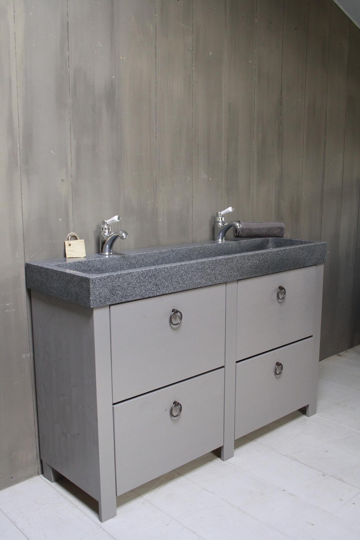 Landelijk badkamermeubel grijs 140 cm met 4 lades en dubbele spoelbak-2