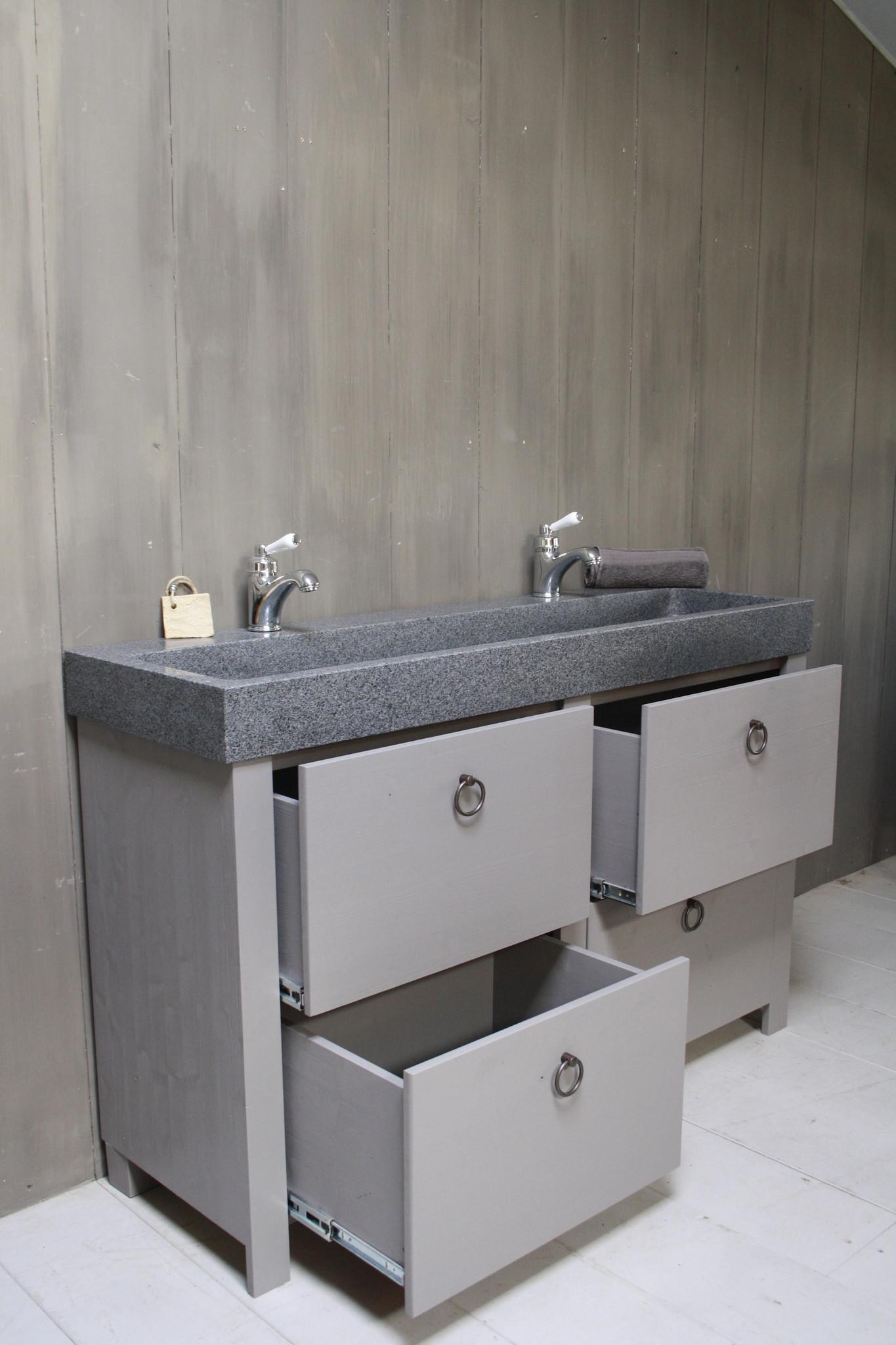 Landelijk badkamermeubel grijs 140 cm met 4 lades en dubbele spoelbak-3