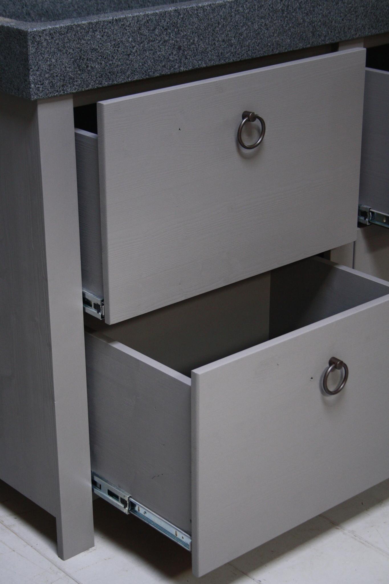 Landelijk badkamermeubel grijs 140 cm met 4 lades en dubbele spoelbak-6
