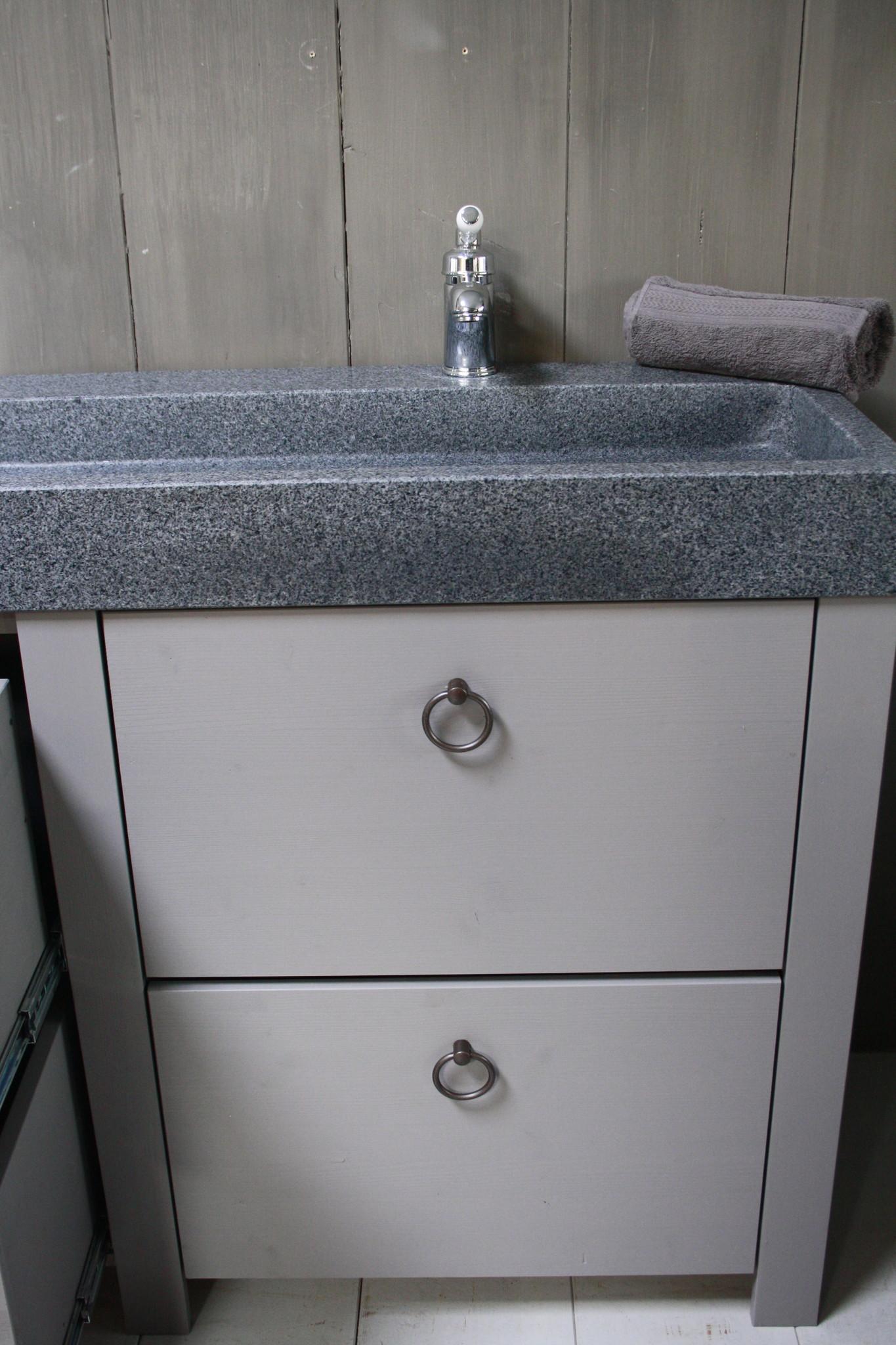 Landelijk badkamermeubel grijs 140 cm met 4 lades en dubbele spoelbak-7