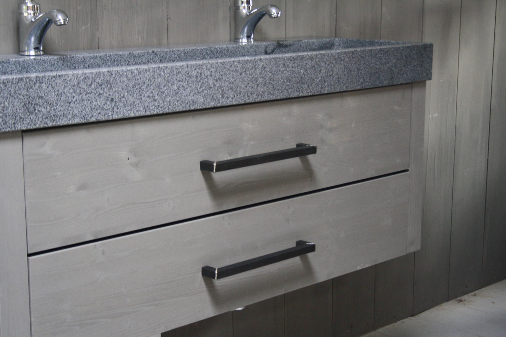 Zwevend badmeubel 140 cm dubbele spoelbak 2 lades grijs-2