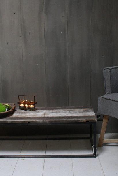 Salontafeltje oud hout met ijzeren onderstel 112 cm