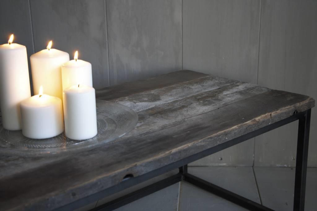 Salontafeltje oud hout met ijzeren onderstel 112 cm-5