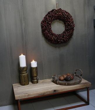 Eikenhouten salontafel met oud ijzeren onderstel 90 cm