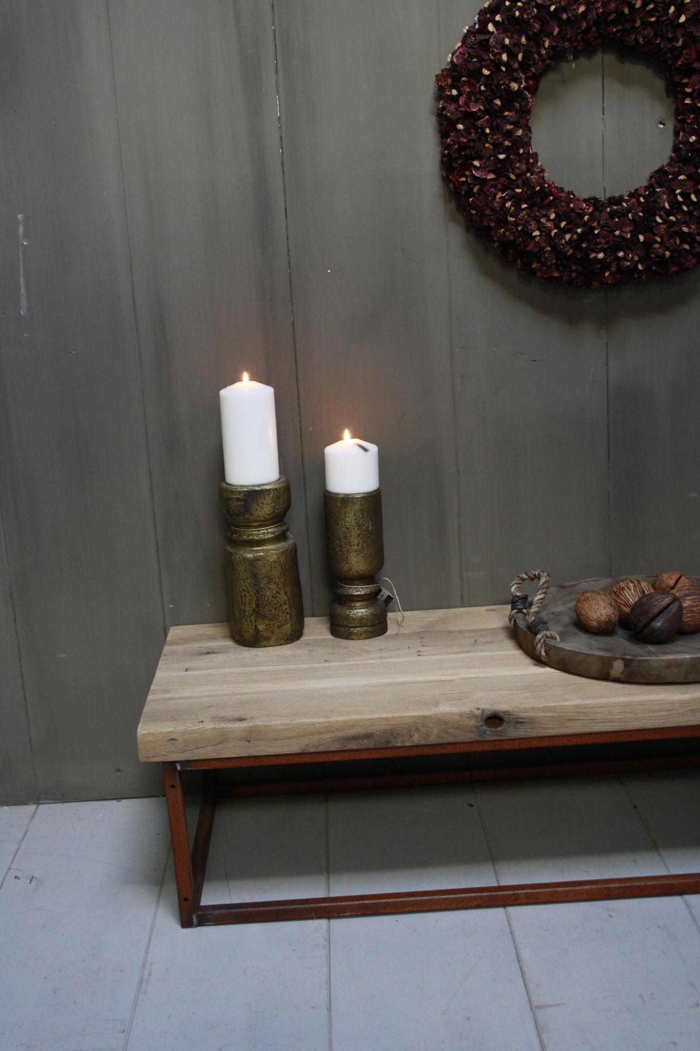 Eikenhouten salontafel met oud ijzeren onderstel 90 cm-5