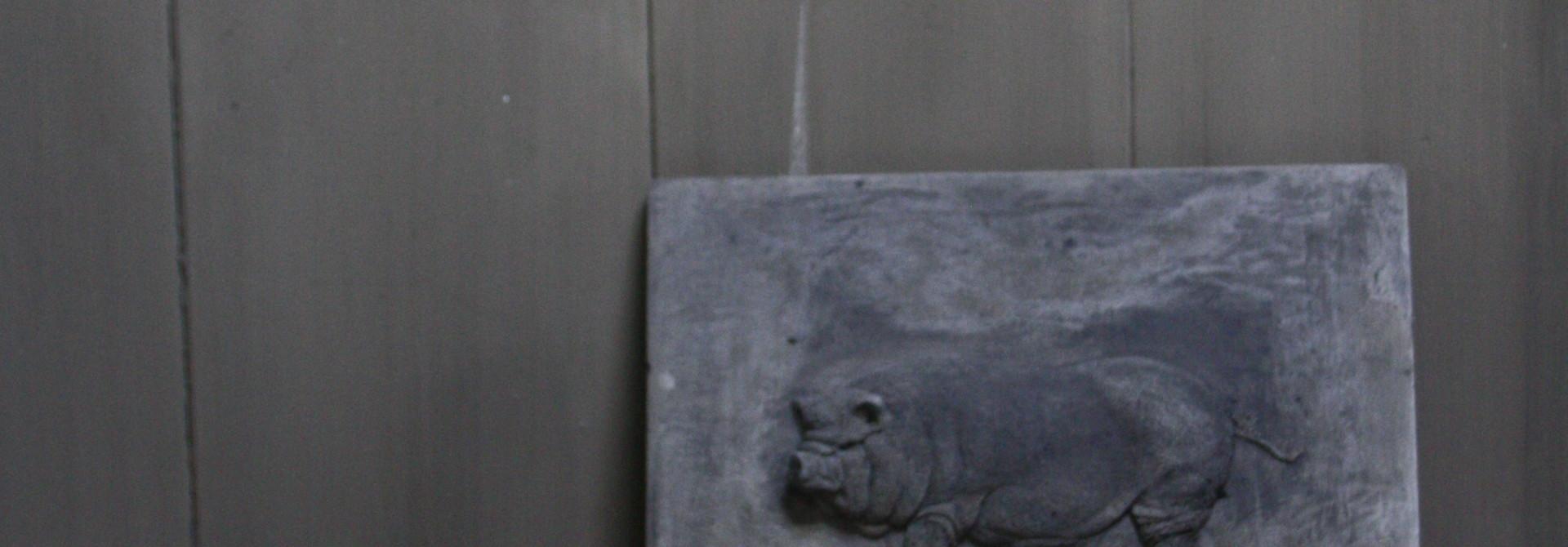 Wandpaneel/lijst Aura Peeperkorn beton met varken 36 cm