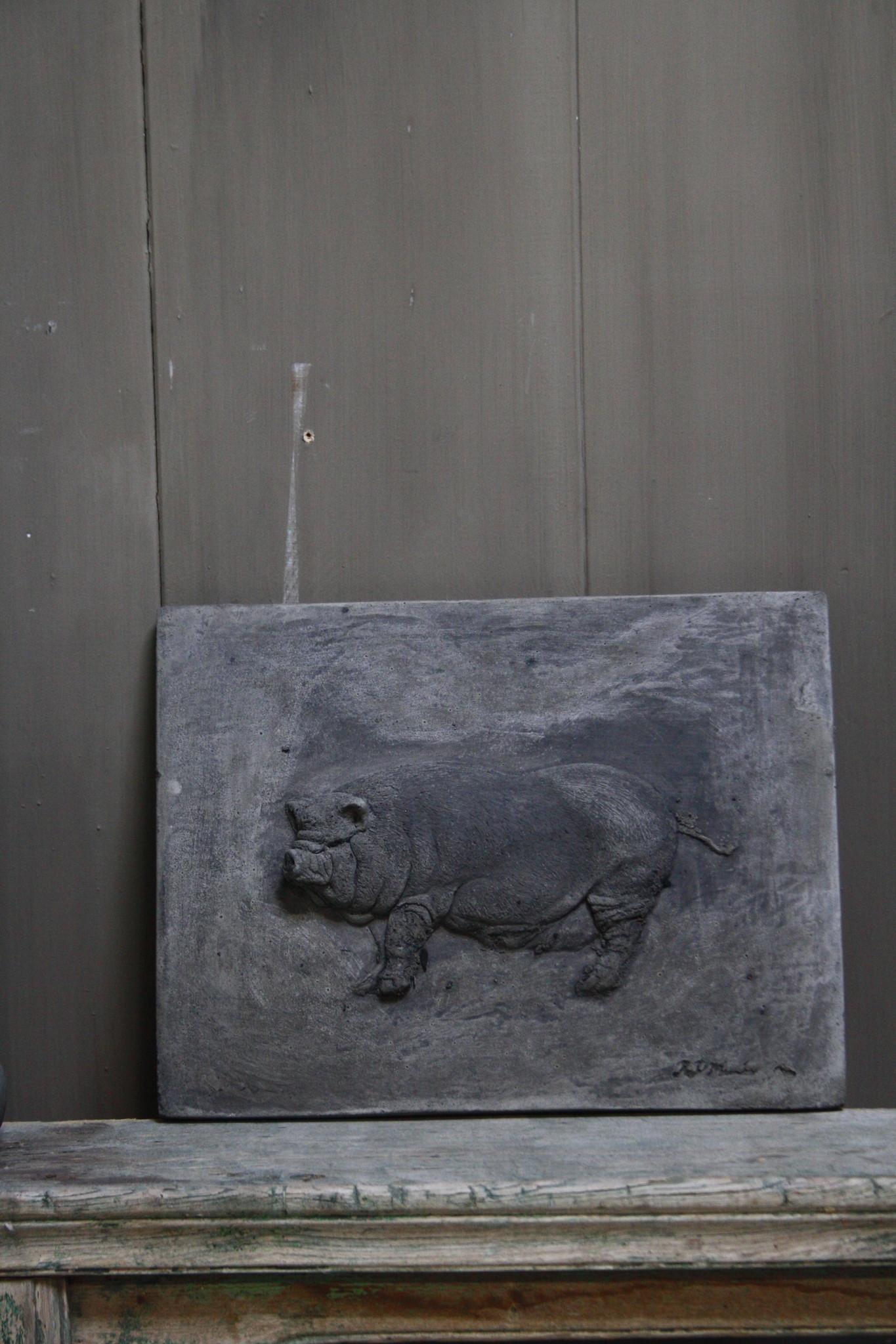 Wandpaneel/lijst Aura Peeperkorn beton met varken 36 cm-2