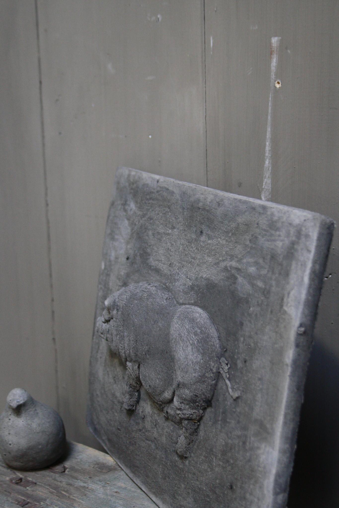 Wandpaneel/lijst Aura Peeperkorn beton met varken 36 cm-4
