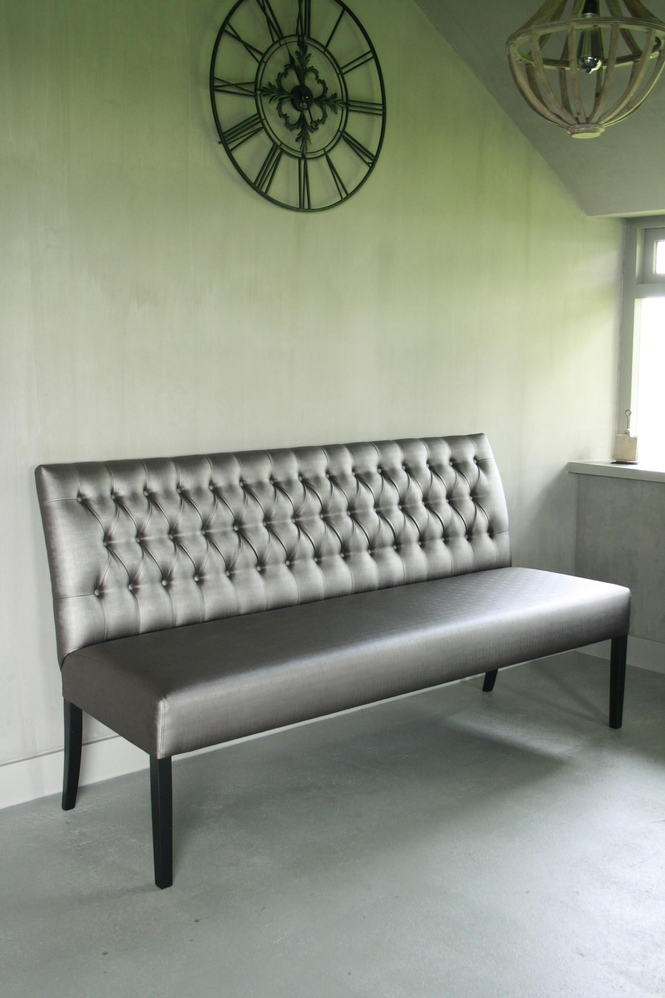 Eetkamerbank Anouk verona silver Capiton 180 cm-3