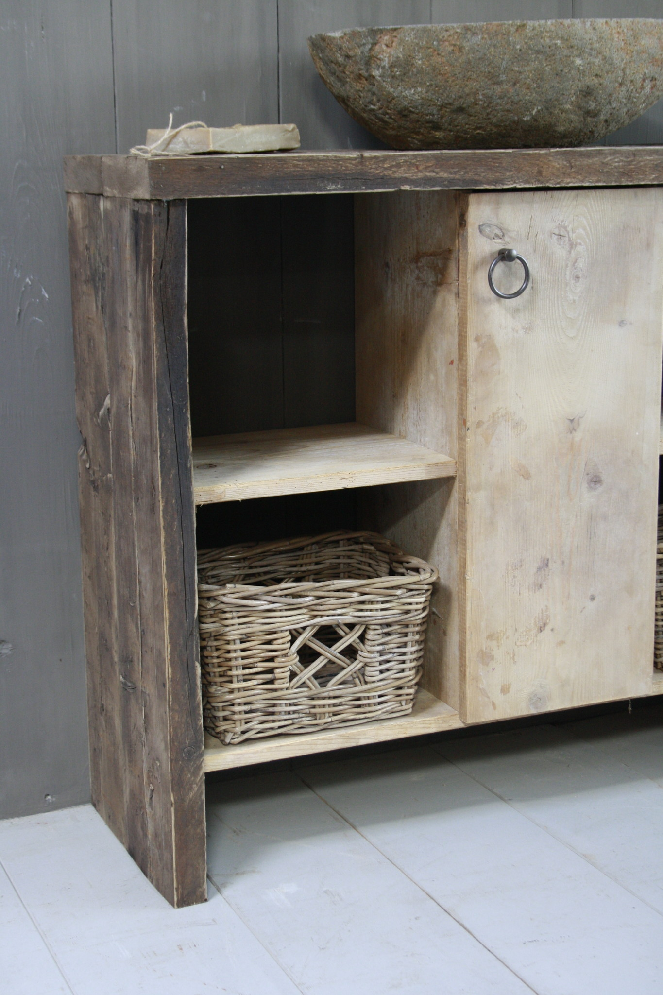Oud houten badkamermeubel/Sidetable Kelsey 110 cm-2