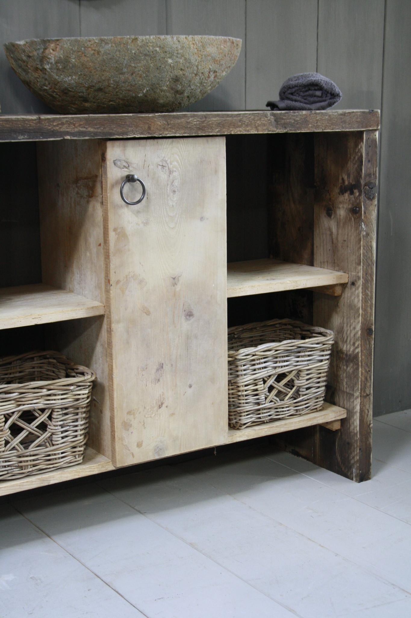 Oud houten badkamermeubel/Sidetable Kelsey 110 cm-3