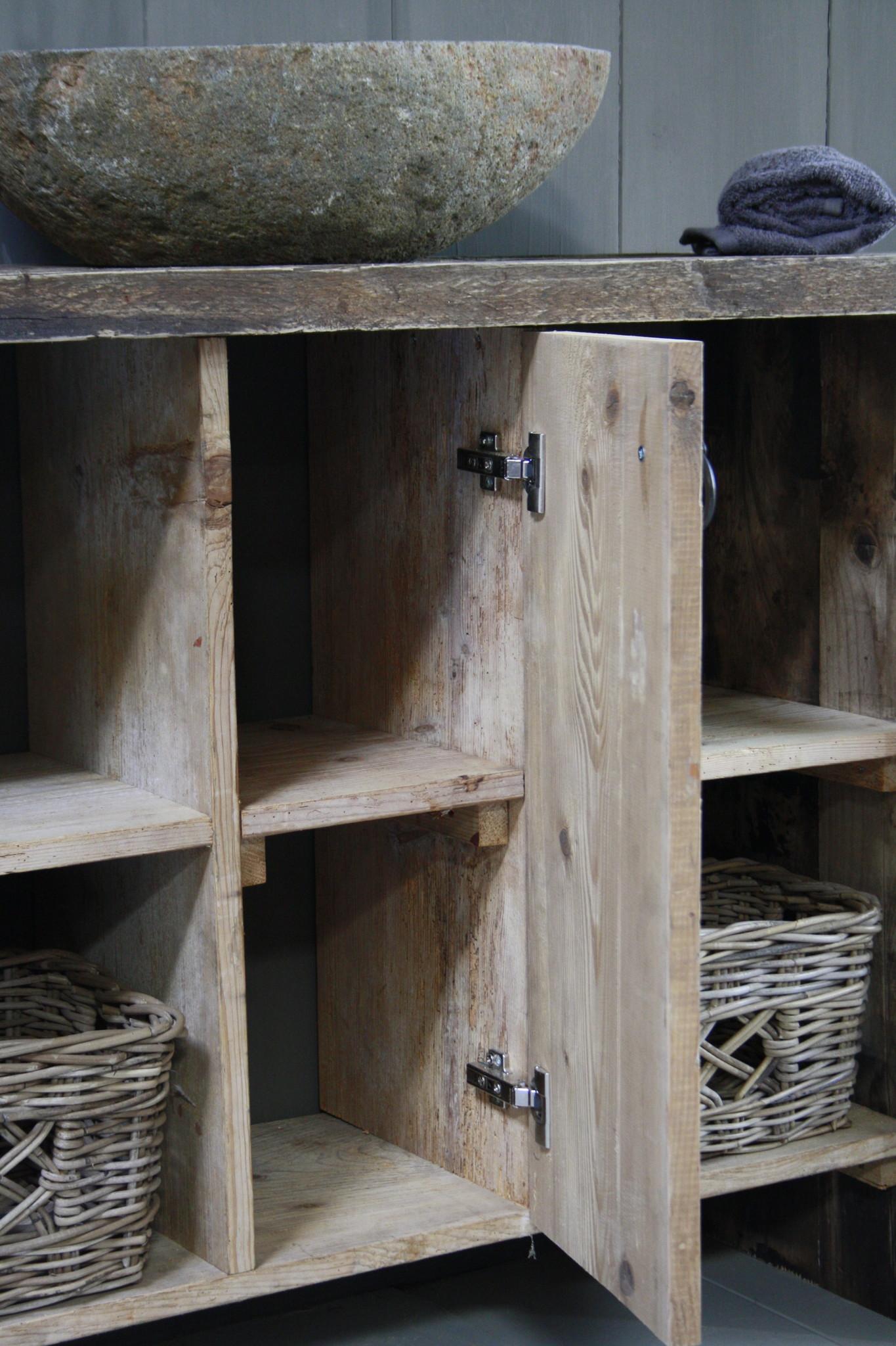 Oud houten badkamermeubel/Sidetable Kelsey 110 cm-4