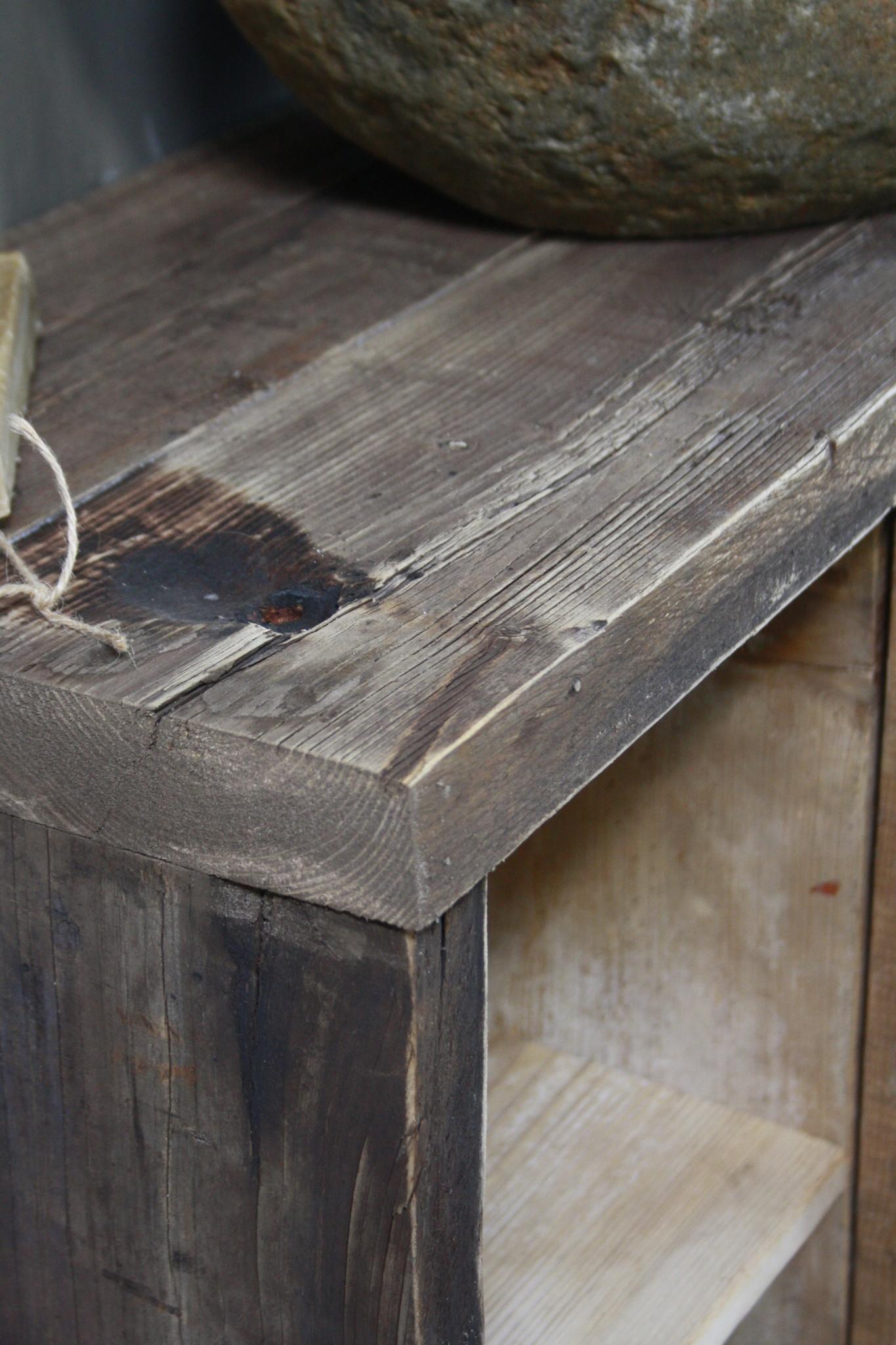 Oud houten badkamermeubel/Sidetable Kelsey 110 cm-9