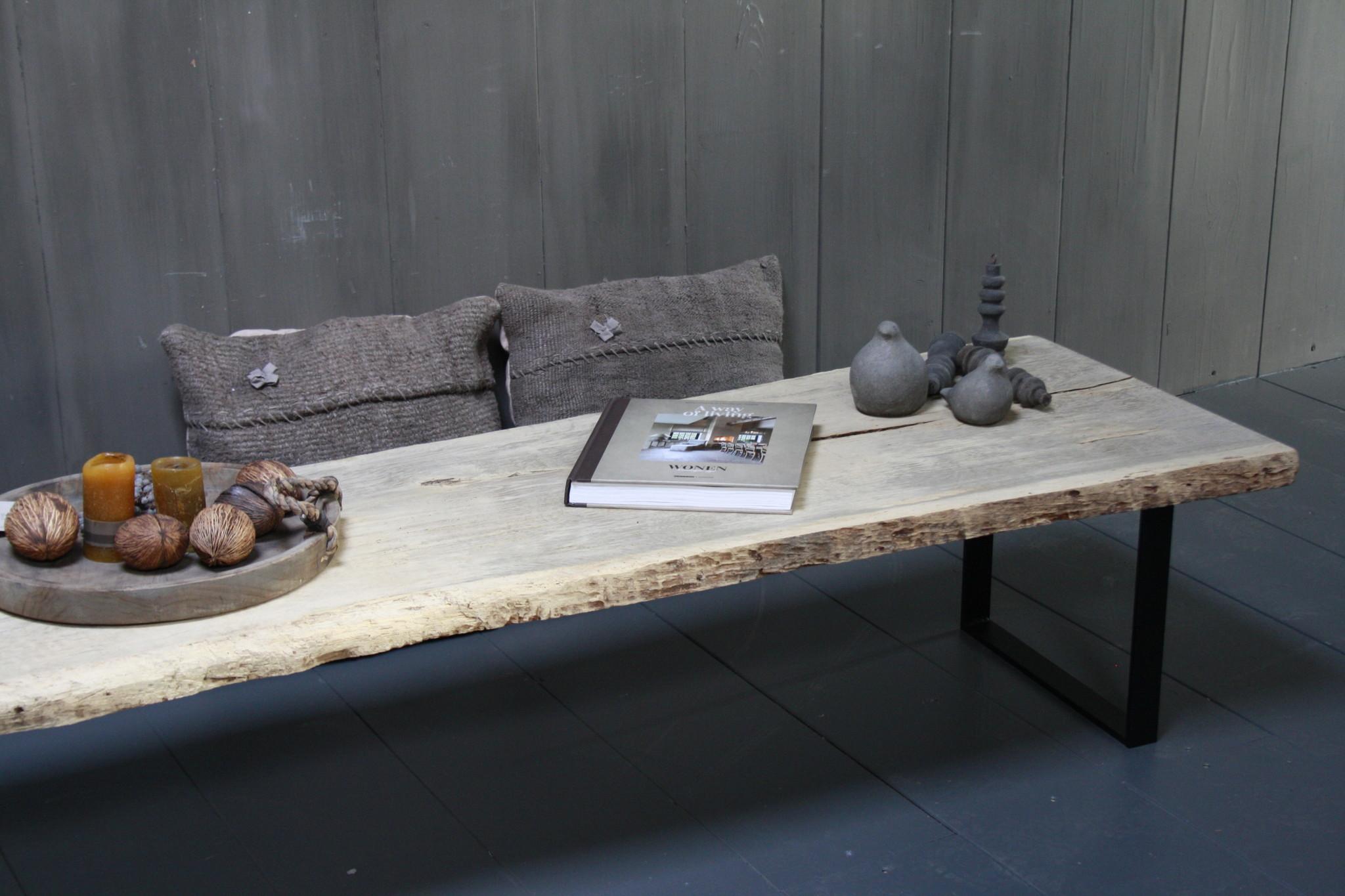 Oud eikenhouten salontafel 250 cm ijzeren onderstel-3