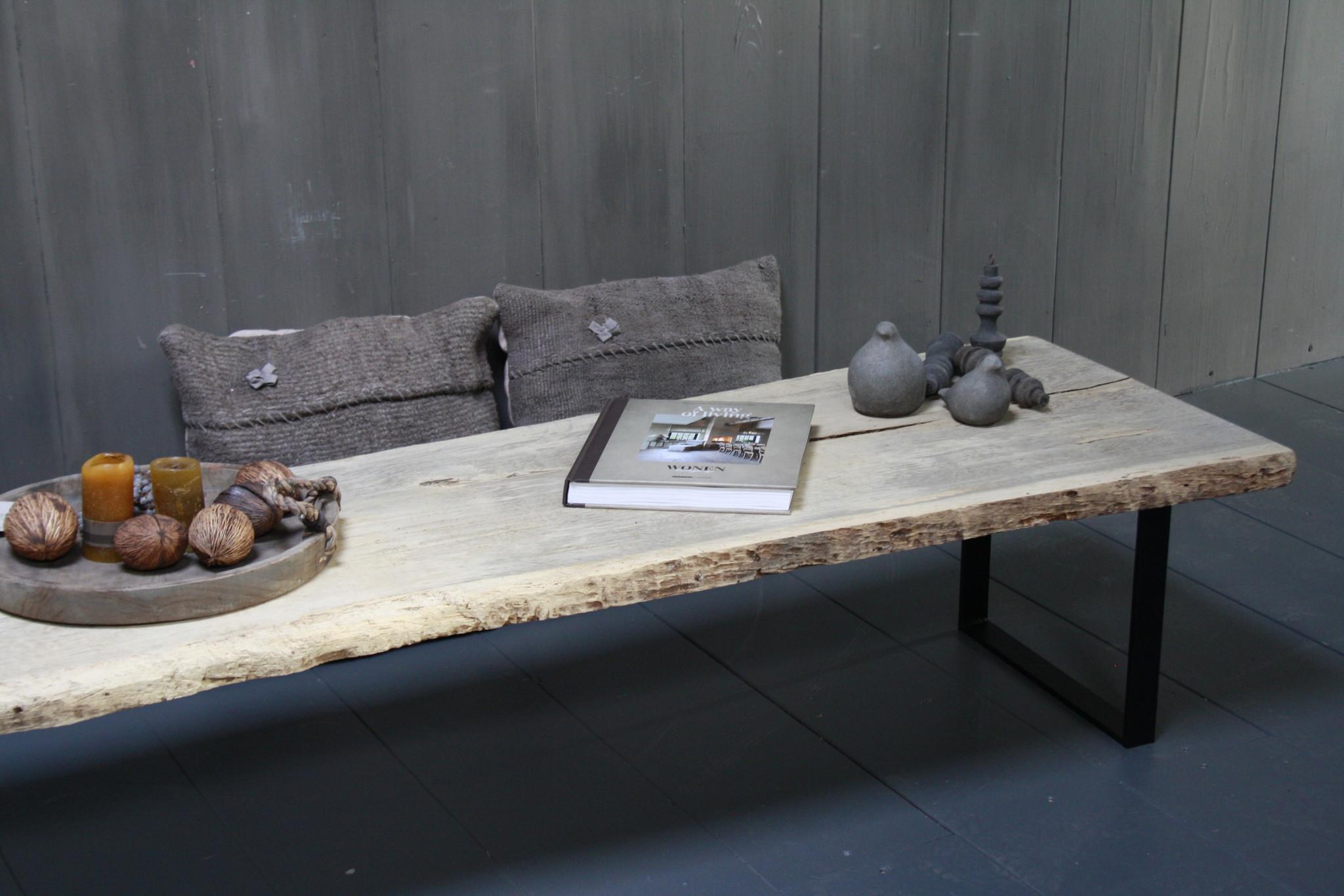 Oud eikenhouten salontafel 250 cm ijzeren onderstel-4