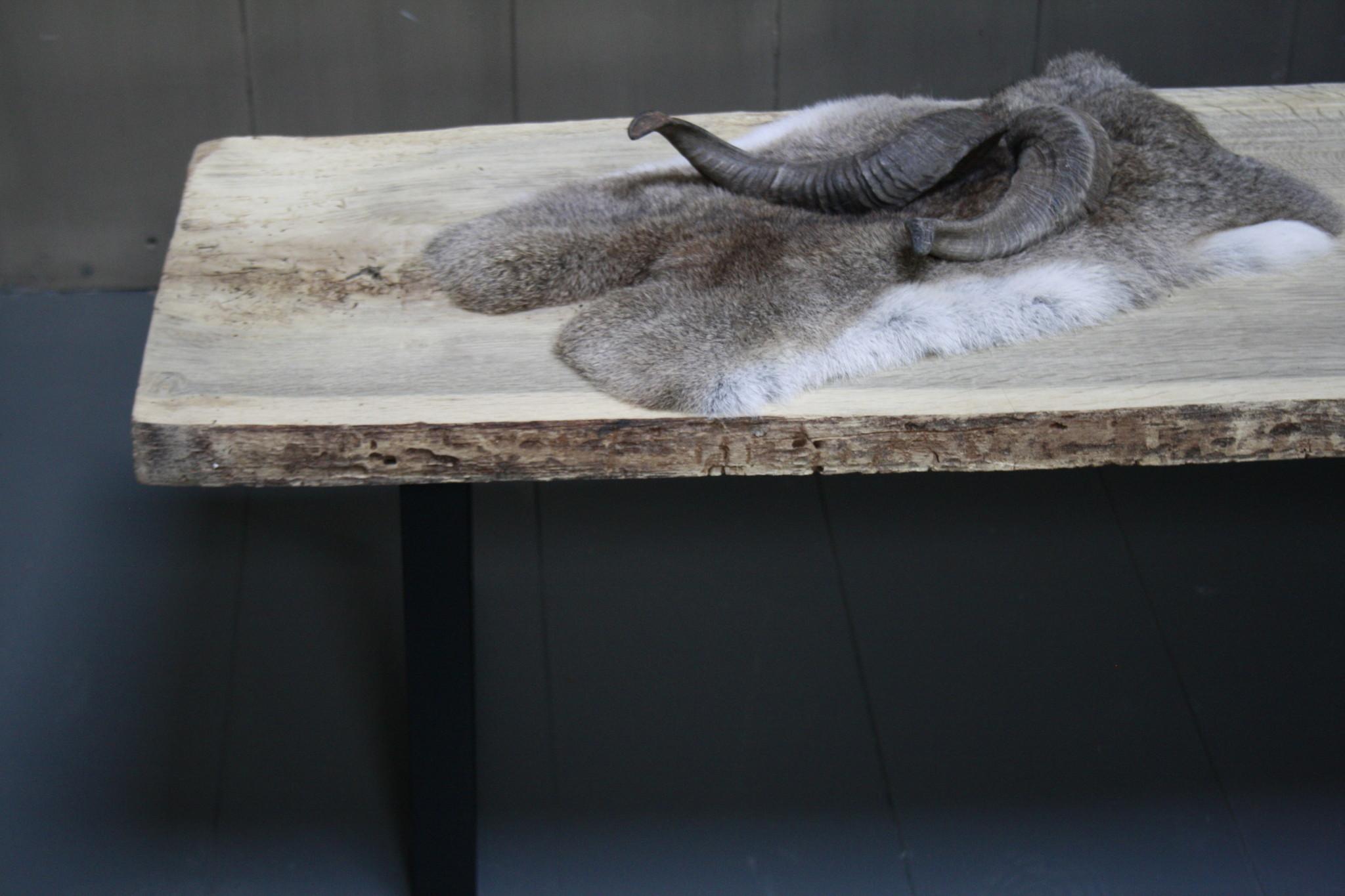 Oud eikenhouten salontafel 250 cm ijzeren onderstel-5