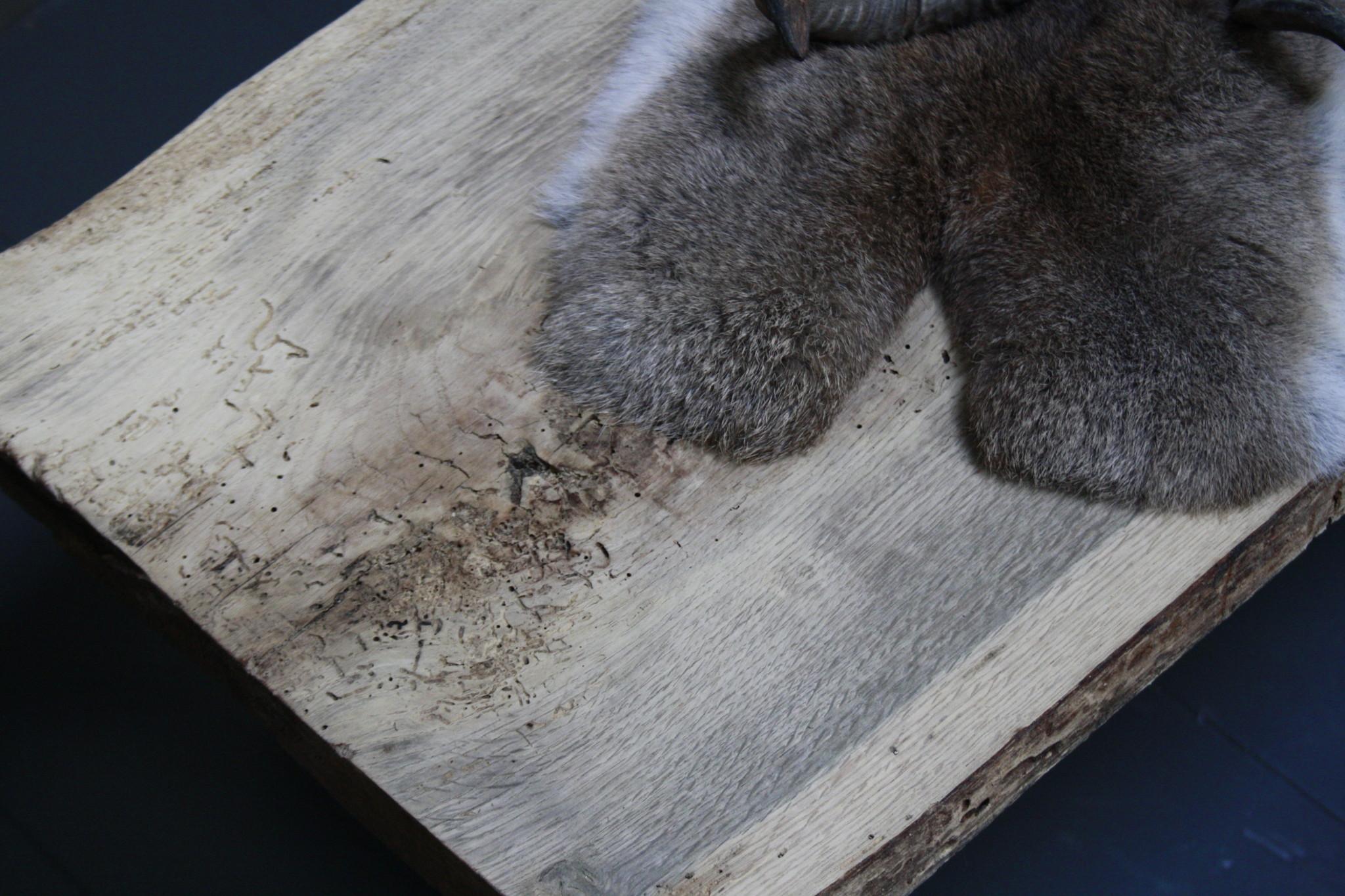 Oud eikenhouten salontafel 250 cm ijzeren onderstel-6