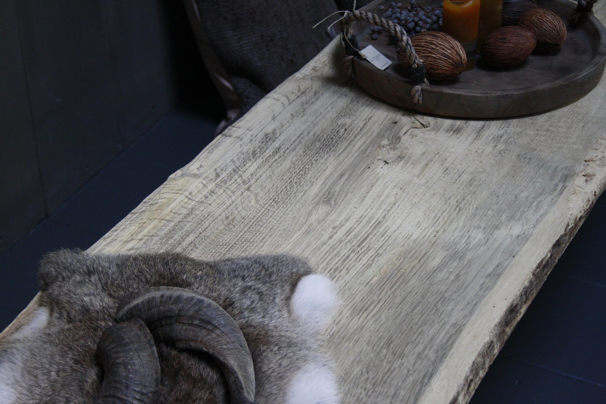 Oud eikenhouten salontafel 250 cm ijzeren onderstel-7