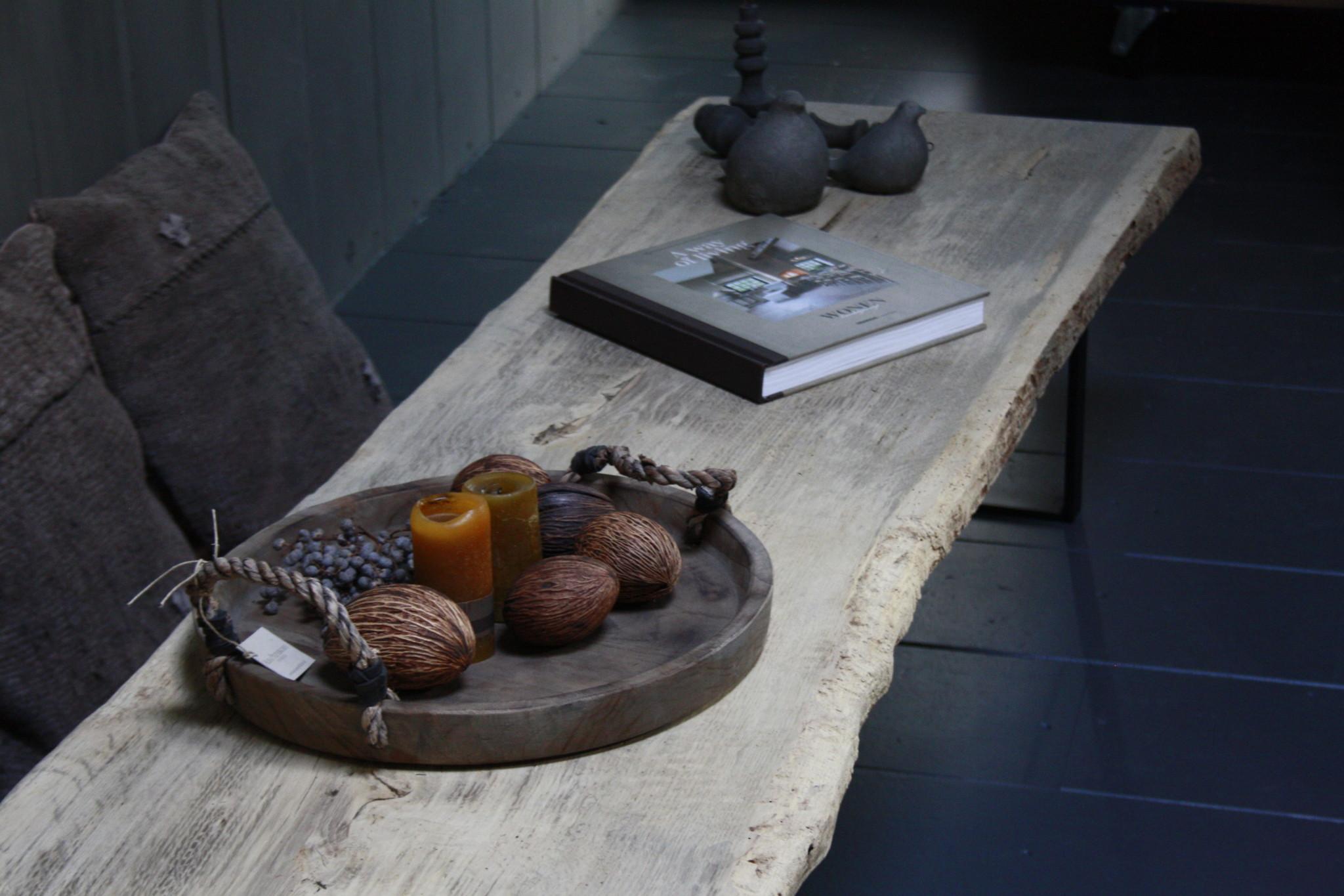 Oud eikenhouten salontafel 250 cm ijzeren onderstel-8