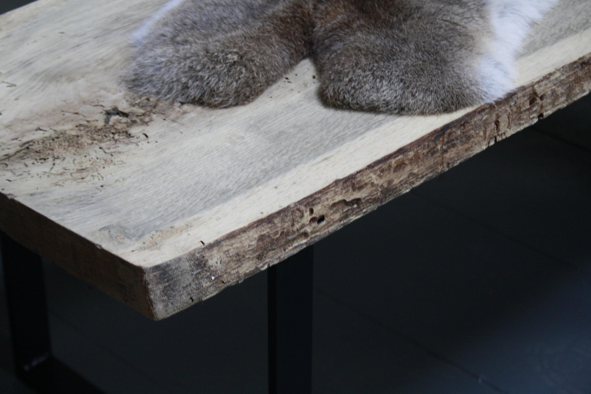 Oud eikenhouten salontafel 250 cm ijzeren onderstel-9