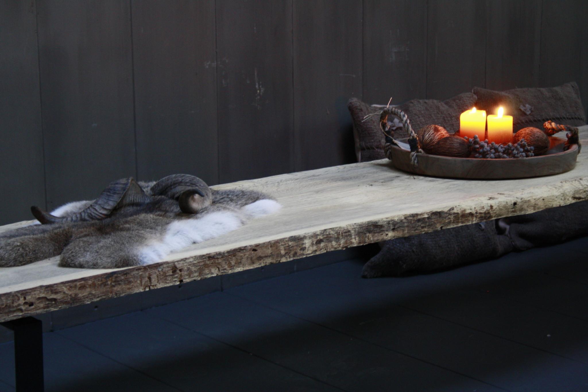 Oud eikenhouten salontafel 250 cm ijzeren onderstel-10