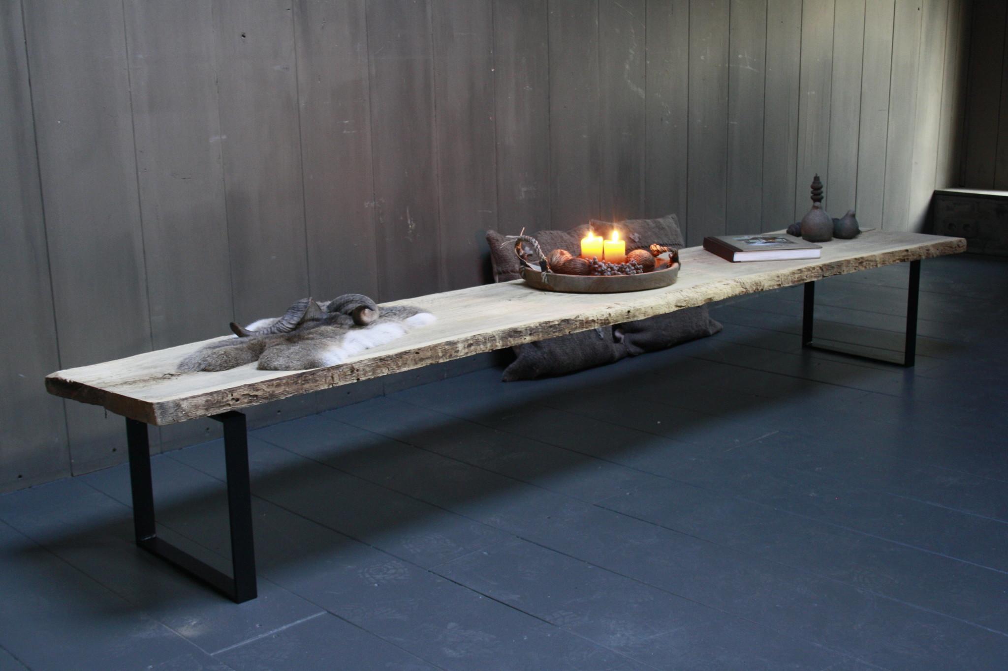 Oud eikenhouten salontafel 250 cm ijzeren onderstel-2