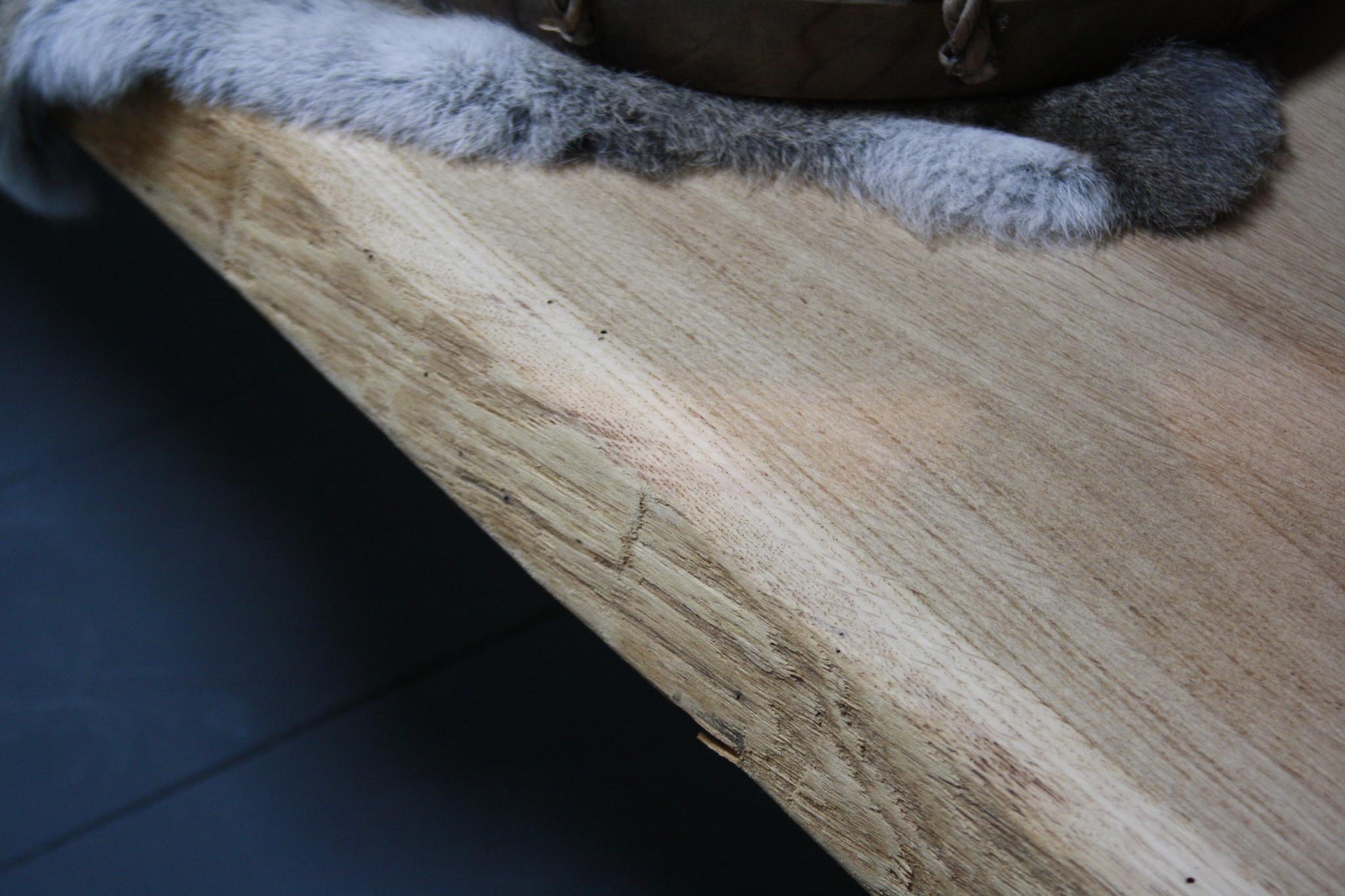 Eikenhouten salontafel met ijzeren onderstel 250 cm-5