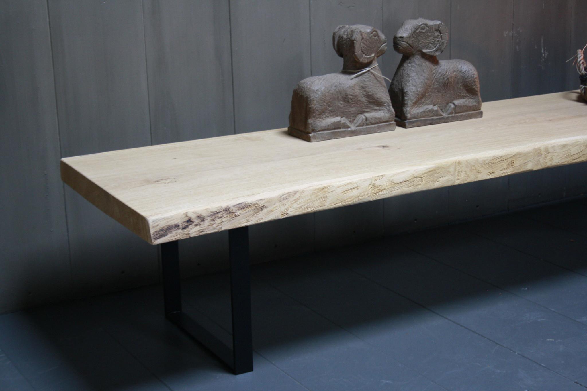 Eikenhouten salontafel met ijzeren onderstel 250 cm-3