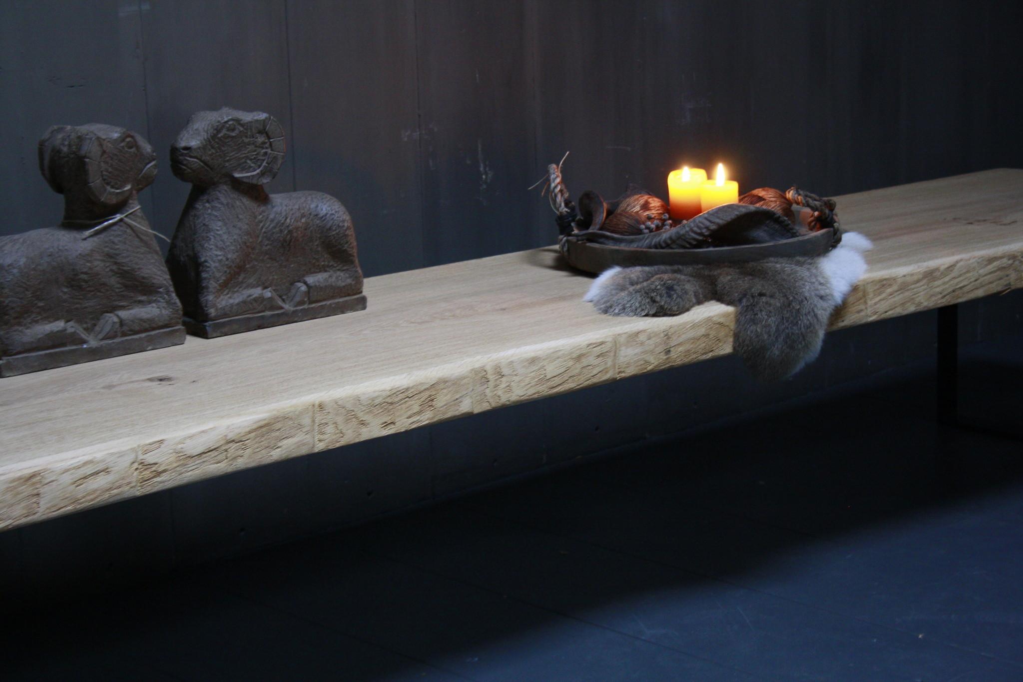 Eikenhouten salontafel met ijzeren onderstel 250 cm-6